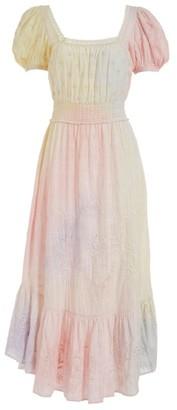 LoveShackFancy Begonia Tie-Dye Midi Dress