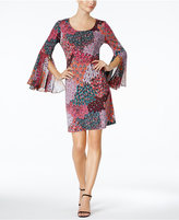 MSK Printed Bell-Sleeve Shift Dress