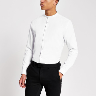 River Island White textured grandad collar slim fit shirt