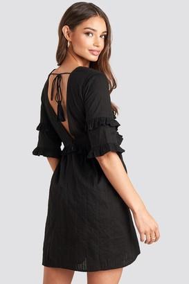 NA-KD Open Back Ruffle Sleeve Mini Dress Black
