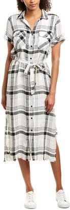 Bella Dahl Frayed Hem Linen-Blend Shirtdress