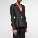 Paul Smith Women's Black Wool-Silk Collarless Peplum Blazer