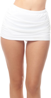 Love My Curves Women's Bikini Bottoms - White Shirred Skirt Swim Bottoms - Women & Plus