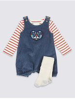 Marks and Spencer 3 Piece Bib Short & Bodysuit with Tights Outfit