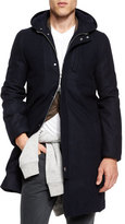 Brunello Cucinelli Montgomery Flannel Coat, Navy