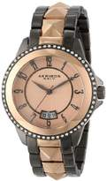 Akribos XXIV Women's AK654TTR Impeccable Swarovski Crystal Accented Gunmetal Rose-Tone Pyramid Stainless Steel Bracelet Watch