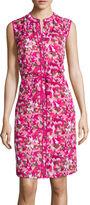 Liz Claiborne Sleeveless Front Pleat Shell Tie Waist Dress