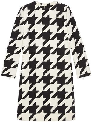Gucci Short houndstooth print wool silk dress