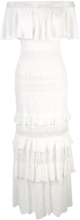 Tadashi Shoji Bardot Frill Maxi Dress