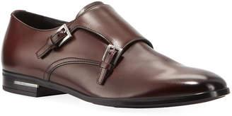 Prada Men's Fondo Gomma Leather Double-Monk Shoe