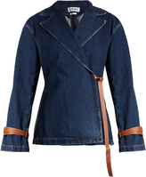 Loewe Peak-lapel leather-tie denim jacket