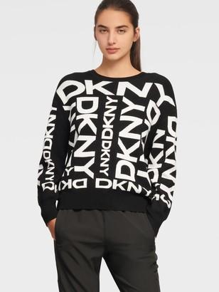 DKNY Women's Exploded Logo Pullover - Black/Ivory - Size XX-Small