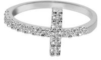 Dimaya 14k White Gold Round Cubic Zirconia Sideways Cross Ring