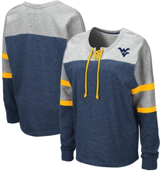 Colosseum Women's Navy West Virginia Mountaineers Manolo Lace-Up French Terry Pullover Sweatshirt