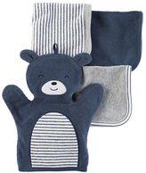 Carter's Baby 4-pc. Bear Hand Mitt & Patterned Wash Cloth Set