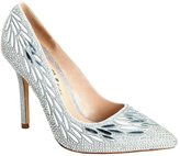 De Blossom Collection Wedding Prom Dress Pump Elsa Rhinestone Pointy Toe Style High Heel Shoes Silver 8.5