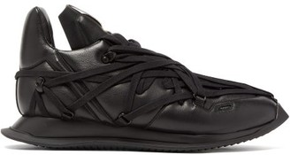 Rick Owens Maximal Runner Laced Leather Trainers - Black