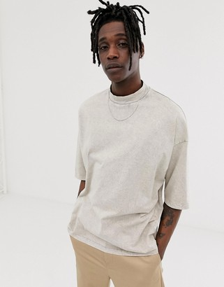 Asos DESIGN oversized t-shirt with half sleeve and turtleneck in heavy acid wash