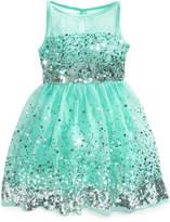 Crystal Doll Sequin Illusion Dress, Big Girls