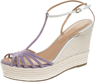 Sergio Rossi Lavender/White Suede and Leather T-Strap Wedge Sandals Size 39.5