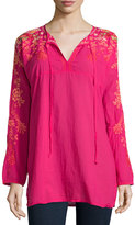 Johnny Was Jessica Long-Sleeve Embroidered Woven Tunic, Pink Berry