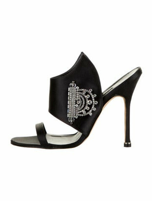 Manolo Blahnik Crystal Embellishments Slides Black
