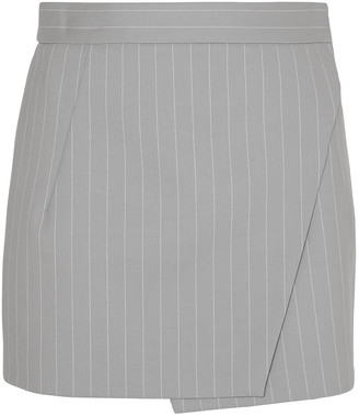 Gareth Pugh Pinstriped Wool-blend Wrap Mini Skirt