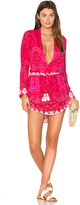 Rococo Sand Plunging Mini Dress in Pink. - size M (also in S,XS)
