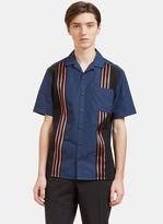 Lanvin Men's Contrast Striped Bowling Shirt In Blue
