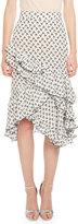 Altuzarra Tucson Cherry-Print Ruffled-Hem Skirt, White