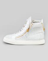 Giuseppe Zanotti Croc-Embossed Low Top Sneaker, White
