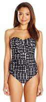 Calvin Klein Women's Cresent Geo One Piece Swimsuit with Removable Soft Cups