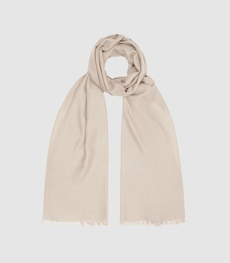 Reiss Iris - Wool Silk Blend Lightweight Scarf in Champagne