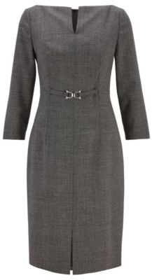 HUGO BOSS Shift Dress In Stretch Virgin Wool With Signature Hardware - Patterned