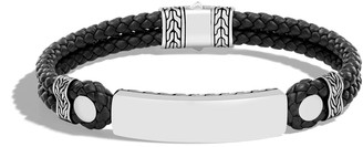John Hardy Men's Sterling Silver Classic Chain & Leather ID Bracelet