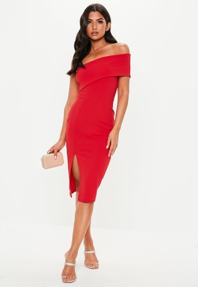 Missguided Red One Shoulder Bodycon Midi Dress