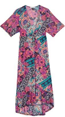 Planet Gold Tie Waist Kimono