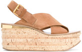 Chloé Tan Brown Camille Wedges - women - Leather/Suede - 39