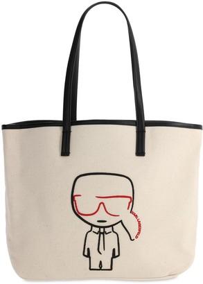 Karl Lagerfeld Paris Ikonik Cotton Canvas Tote Bag