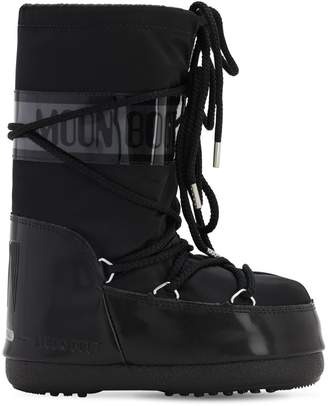Moon Boot Snow Boots W/ Faux Patent Leather Detail