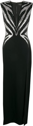 David Koma Embellished Plunging-Neck Dress