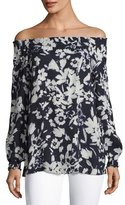 Lafayette 148 New York Raelyn Off-the-Shoulder Floral-Print Blouse, Ink Multi