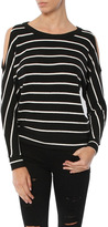 SALE Chaser Love Knit Cold Shoudler Vent Back Long Sleeve Dolman