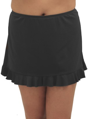 Fit 4 U Fit 4 Ur Hips Solid Swim Skirt with Flounce - Plus