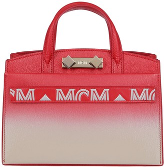 MCM Red And White Leather Tote Bag