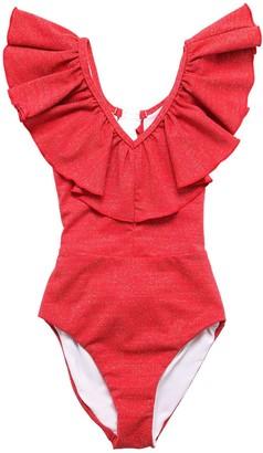MonnaLisa Ruffled Lurex One Piece Swimsuit