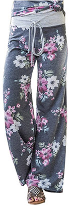 Lilly Posh Women's Summer Casual Pajama Pants Floral Print Drawstring Palazzo Lounge Pants Wide Leg Grey, X-Large