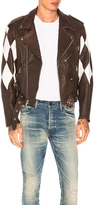 Enfants Riches Deprimes Harlequin Lambskin Moto Jacket in Brown.