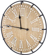 """E2 24"""" Rustic Whitewashed Wood and Metal Oversized Wall Clock"""