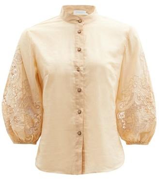Zimmermann Brighton Broderie-anglaise Cotton-voile Blouse - Beige